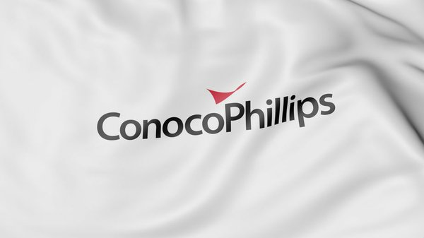 Waving flag with Conocophillips logo. Editorial 3D rendering
