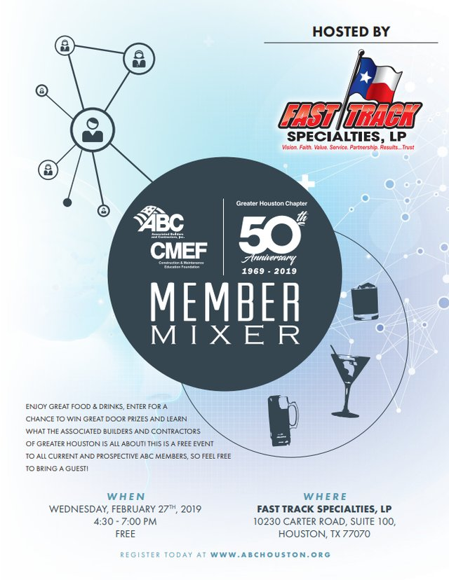 ABC Houston Member Mixer Hosted By Fast Track Specialties
