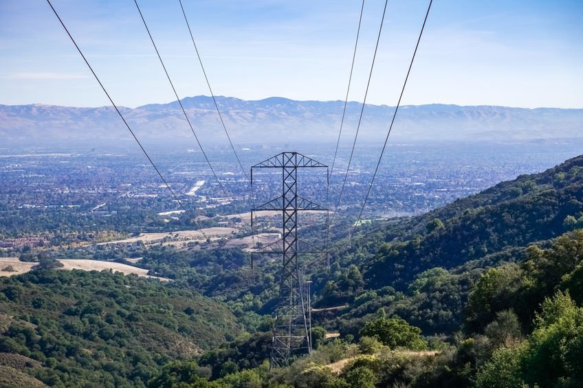 Electricity tower on south San Francisco bay area, San Jose on t