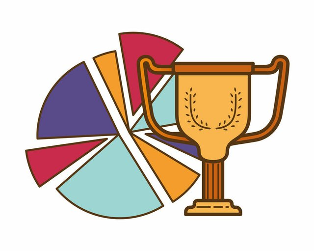 circle graph with trophy isolated icon
