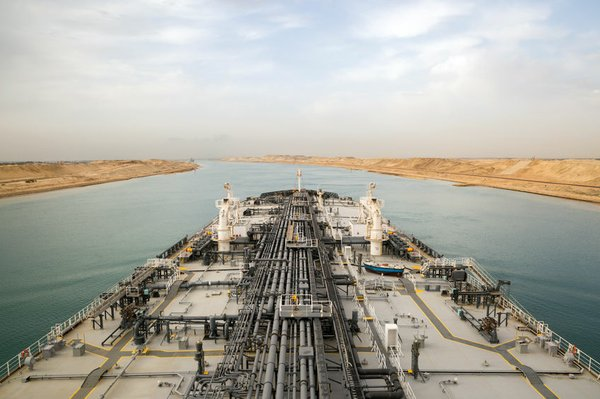 Oil product tanker is proceeding through Suez Canal.