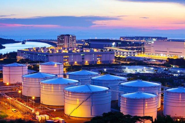 Oil tanks during sunset