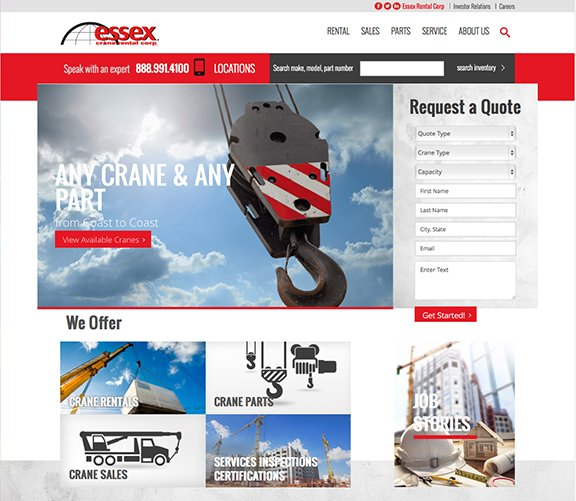 Essex Crane Telerik Sitefinity Website of the Year