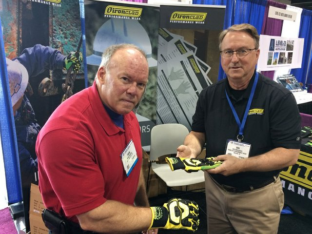 Mark Parsons of the Bureau of Reclamation tries on a pair of