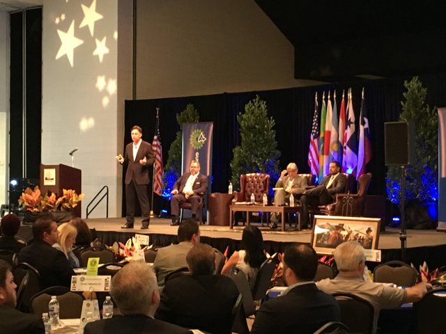 Nick Vafiadis of IHS speaks on North American exports and imports during the Global Shipping Panel at the Gulf Coast Industry Forum in Pasadena, Tx.