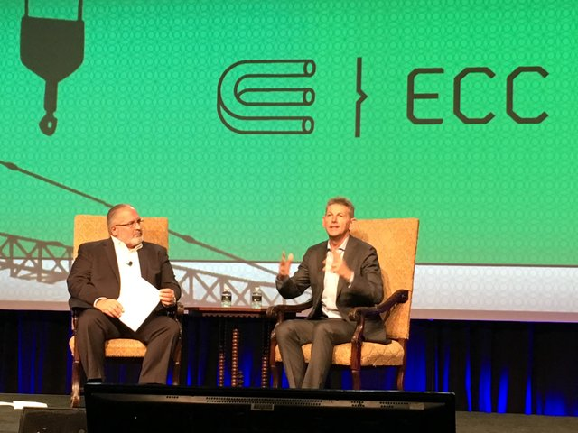 "Steve Cabano, Past Chair of the ECC Conference and Pathfinder Present, leads a Q & A session with Liam Mallon, President ExxonMobil Development.  Mallon spoke spoke on the energy industry's adaptation in a ""Lower for Longer"" oil price environment."
